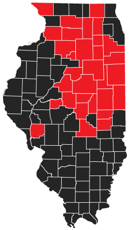 State of Illinois - 31 counties in red